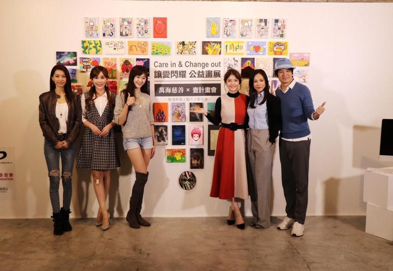 左起為林韋君、劉涵竹、許蓁蓁、王樂妍、張本渝及張洛君,齊為「壹計劃基金會」作畫義賣募款站台。(張洛君提供)