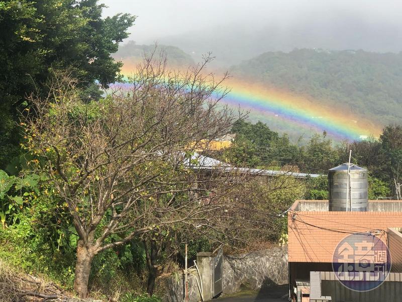 今(8)日下午,陽明山東昇路突現彩虹群讓遊客紛紛駐足欣賞。