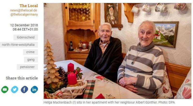德國突擊隊為逮捕黑幫分子出動任務,但卻因訊息傳遞錯誤,而誤闖獨居的老奶奶海爾格(右)家中。(圖取自The Local)