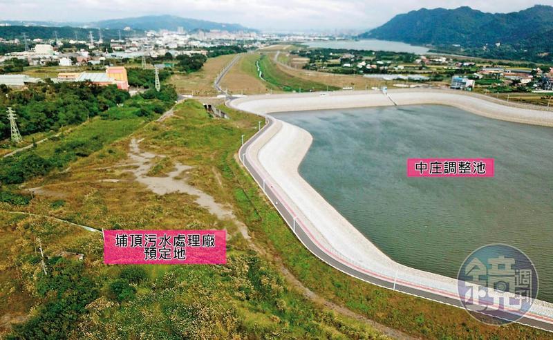 埔頂汙水處理廠緊鄰中庄調整池,恐汙染北北桃500萬人的飲用水源。