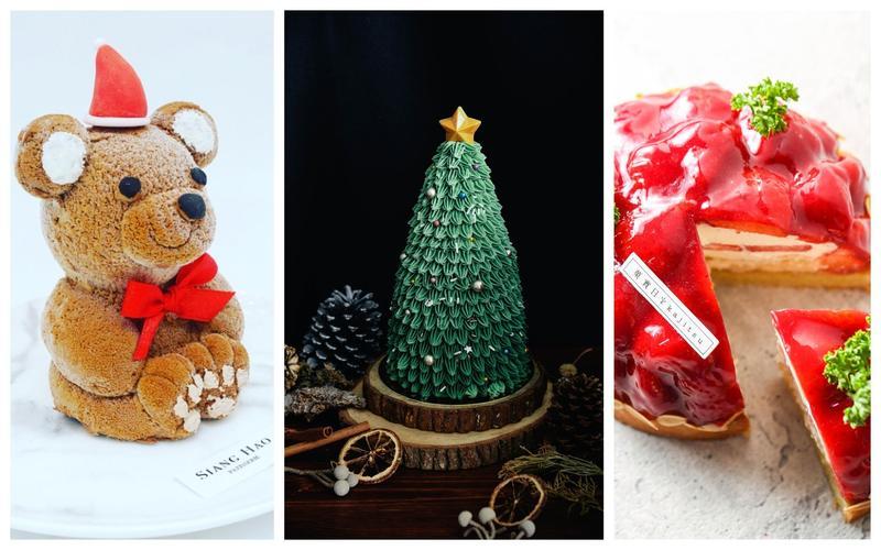 相機先食當道,甜點吸睛好拍是基本,耶誕前準備好你的甜點胃了嗎?(由左至右「小熊蛋糕」「迷你聖誕樹蛋糕」「酸與甜草莓塔」,Siang Hao Patisserie法式甜點、味蕾尖兒、菓實日提供)