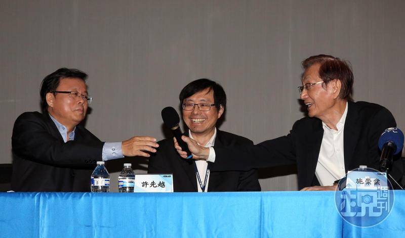 明年1月1日起華碩開啟雙執行長共治時代,由胡書賓(左1)、許先越(左2)扛起重責大任。