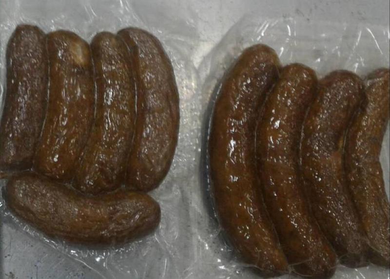 來自澳門的豬肉香腸檢出非洲豬瘟病毒基因,目前經採樣後已沒入銷毀(防檢局提供)