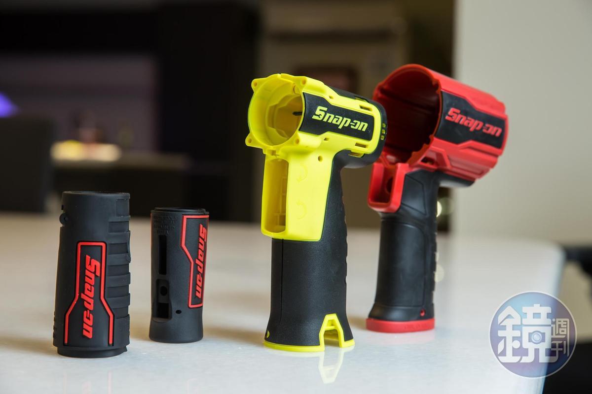 林健祥幫美國工具機大廠Snap-on用熱可塑橡膠開發軟、硬料結合的工具機手把,耐磨不脫屑。