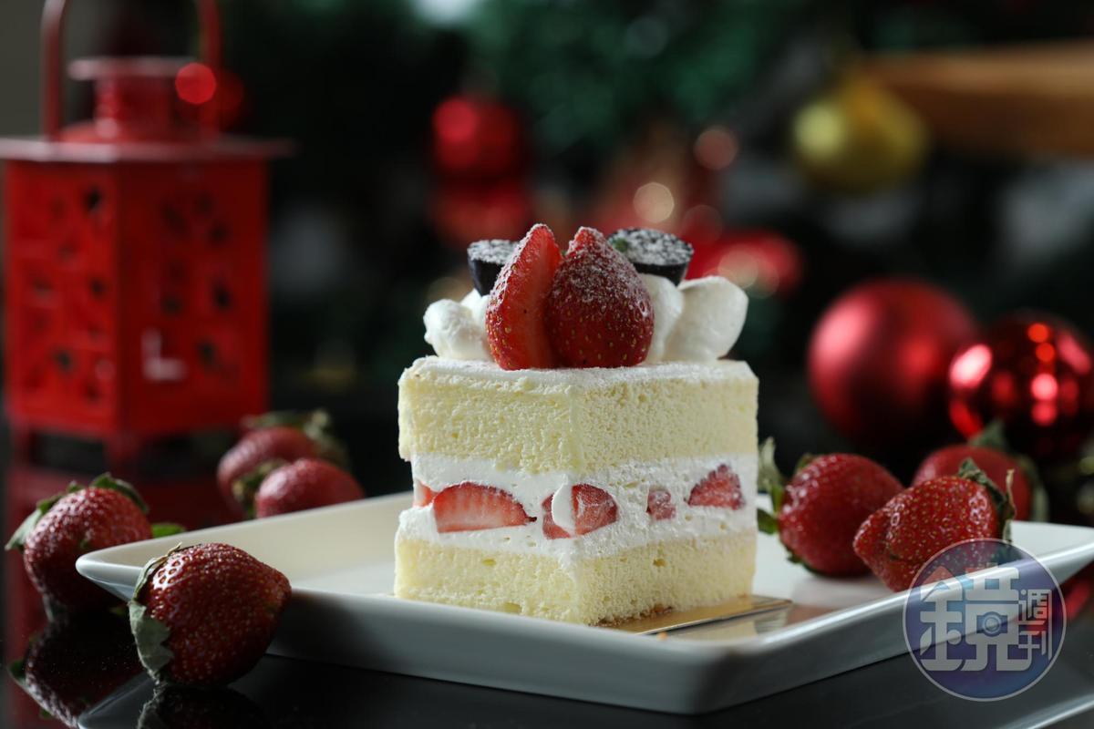 「日式草莓海綿蛋糕」蛋糕體鬆軟,鮮奶油也輕盈不膩。(200元/個)