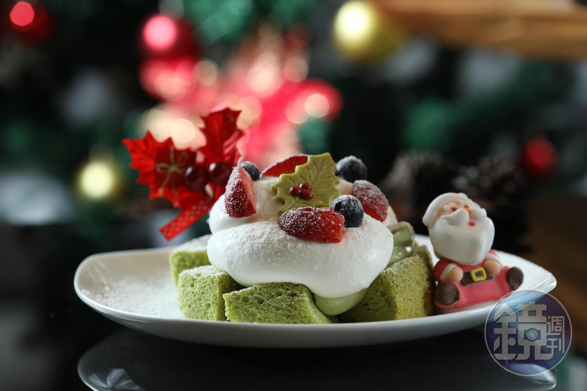 耶誕節限定的「抹茶北海道棉花蛋糕」卡士達使用兩倍抹茶,微苦茶香增添韻致。(220元/份,限內用)