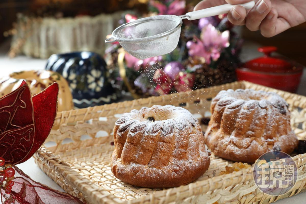 奧地利的耶誕麵包「咕咕霍夫」在歐洲有各種變形,阿洸師的版本是加了果乾的布里歐許。(180元/個)