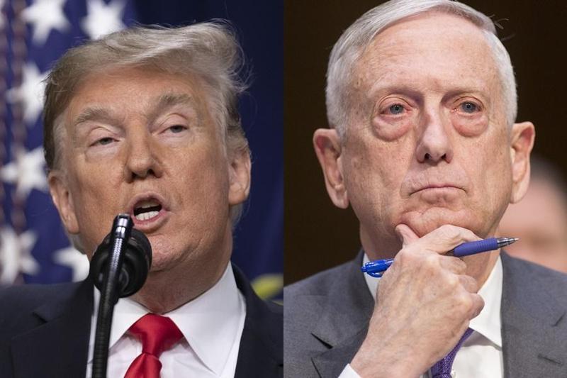 美國總統川普(左)宣布美軍自敘利亞撤出,美國國防部長馬提斯(右)不滿而請辭,除了重創川普執政團隊的威信外,外界更擔心IS力量重新集結。(東方IC)