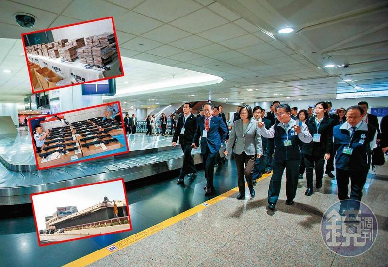 總統蔡英文19日視察桃園機場,宣示防疫和查緝違禁品的決心。但國境管制失靈,槍枝、毒品卻從貨棧倉儲登台。(總統府提供)