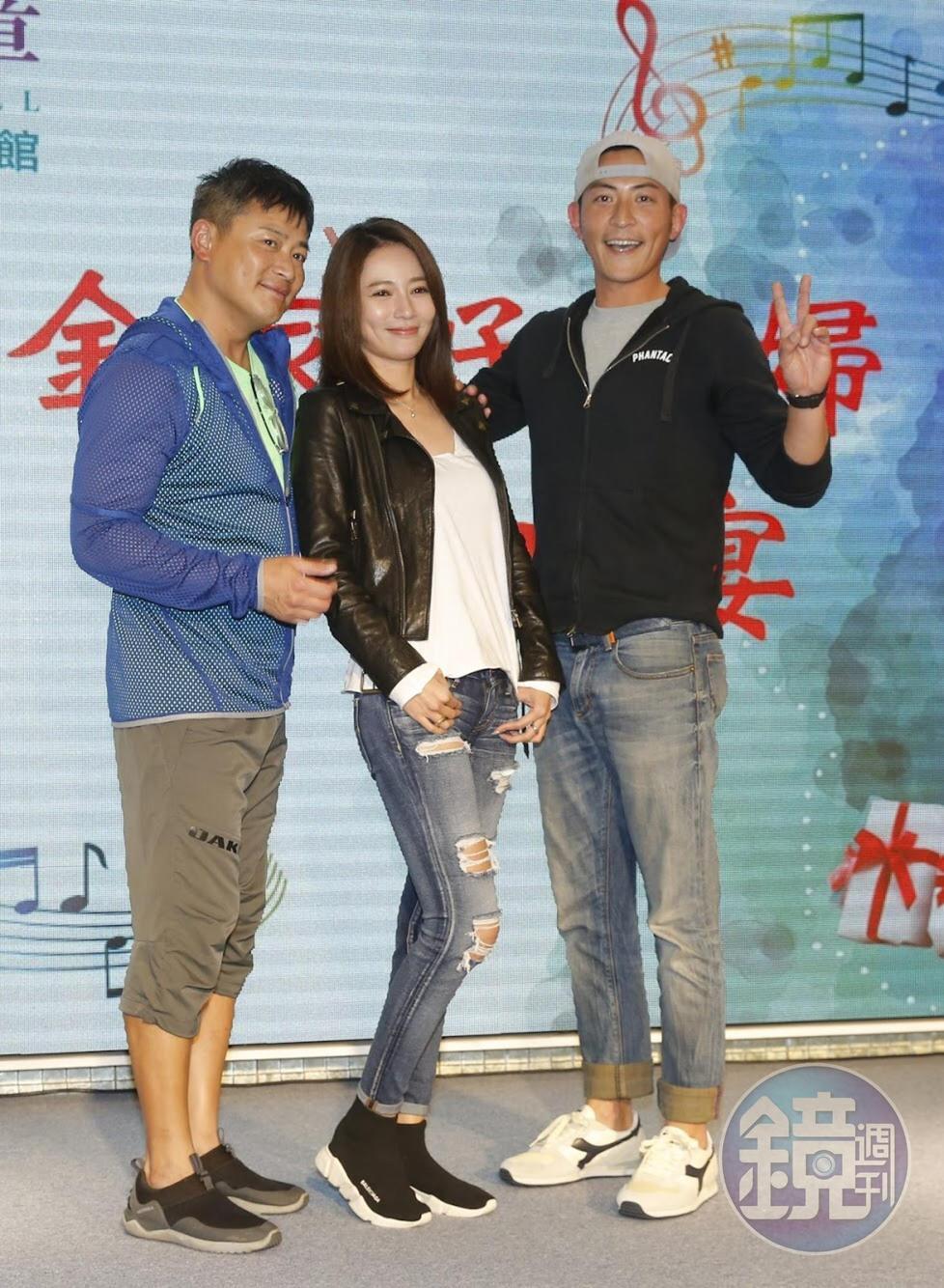 高宇蓁(中)和前男友趙駿亞(右)戲裡合作,戲外也大方合影。