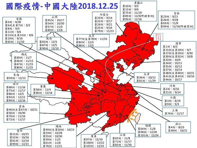 中國大陸已經有23省分淪陷於非洲豬瘟,至昨日為止傳出102個案例。