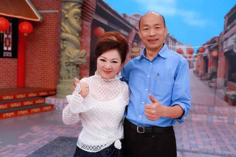 白冰冰昨參加高雄市長韓國瑜就職典禮,結束後還跟韓國瑜用餐及合照。(陳孝志提供)