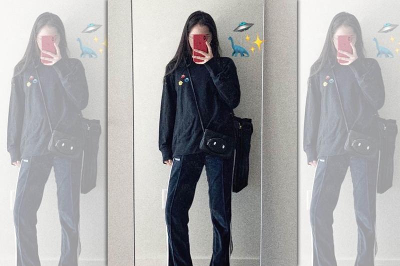 歐陽娜娜配戴Longchamp豬年限定黑色手拿包,展現少女氣質俏皮可愛。〈Longchamp提供〉