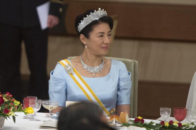 2017年4月5日,日本太子妃雅子出席天皇款待來訪西班牙國王費里佩六世夫婦的國宴。(東方IC)