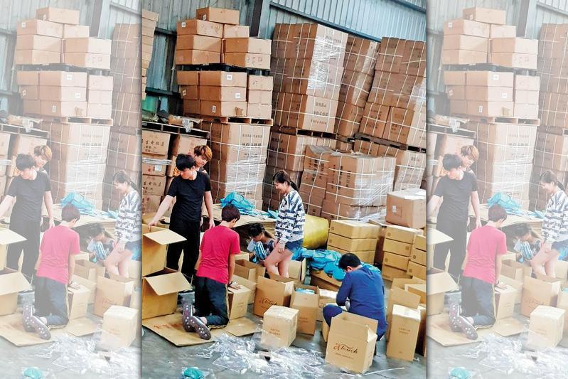 業者在不公開社群招攬商家購買盲包,並以倉庫熱絡的市況吸引民眾訂貨。(翻攝網路)