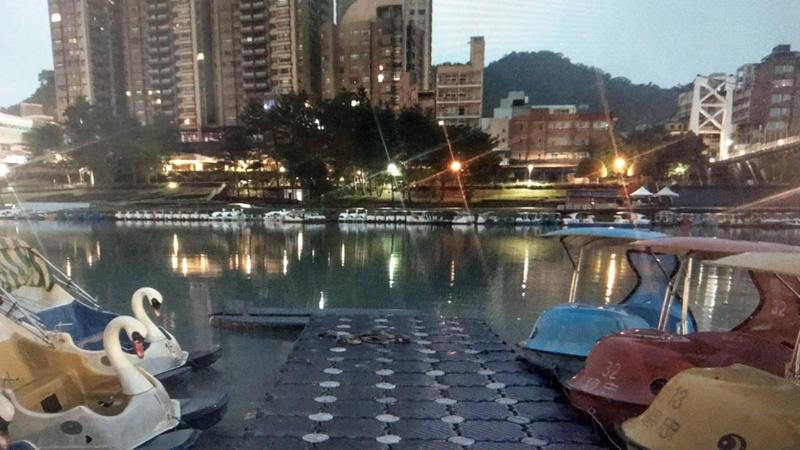 陳姓少年夜遊時爬上天鵝船拍照,天鵝船卻因重心不穩而翻覆。(翻攝畫面)