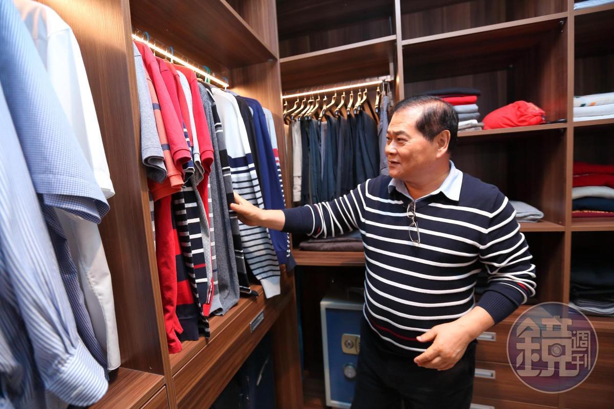 客戶非富則貴,69歲的謝智通卻是一身Hang Ten平價條紋polo衫。