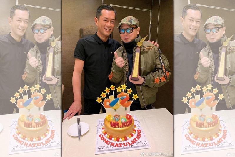古天樂跟好友導演錢國偉一同慶功。(翻攝自錢國偉微博)