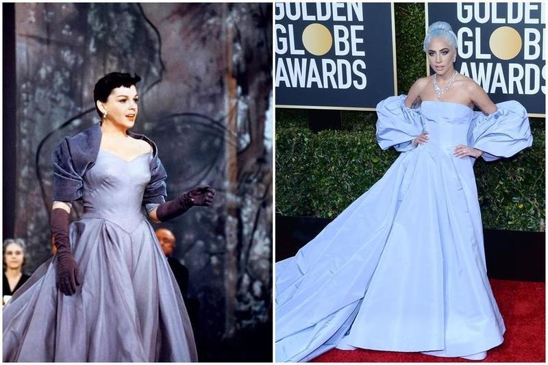 1954年《一個明星的誕生》女主角茱蒂嘉蘭片中就穿著藍色大裙擺禮服,女神卡卡此舉很有向茱蒂嘉蘭致敬的意味。(左圖翻攝自Lady Gaga Now twitter,右圖東方IC)