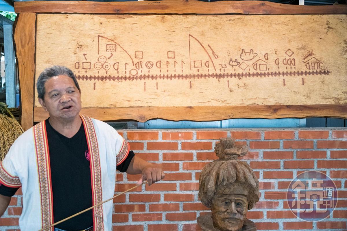 木雕的內容為布農族的曆法,經講解後趣味橫生。