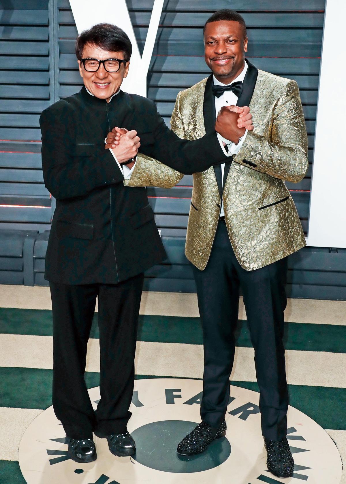 成龍2017年與《尖峰時刻》搭檔克里斯塔克(右)合體,曾宣布會拍系列第4集,但現在還沒消息。(東方IC)