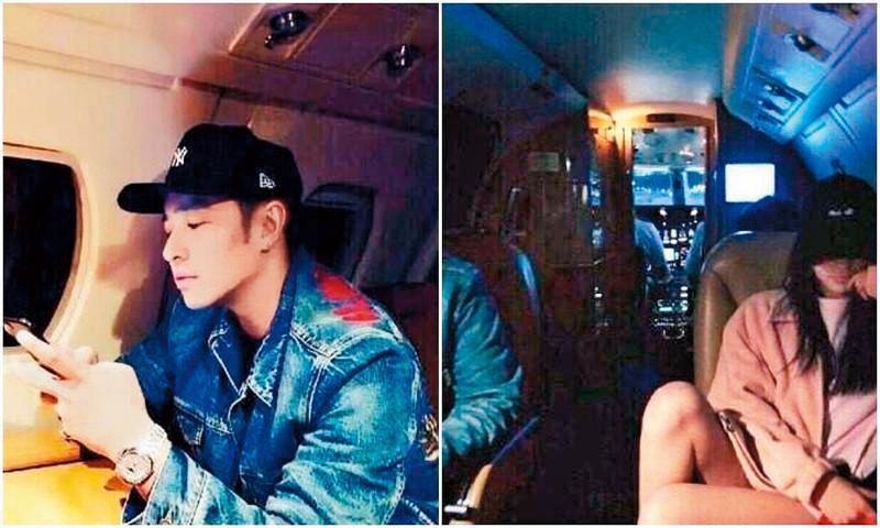 Luna在飛機上自拍,畫面左邊有男性手臂,再對比潘瑋柏的照片,衣著相似,意外露餡。(翻攝自潘瑋柏、Luna IG)