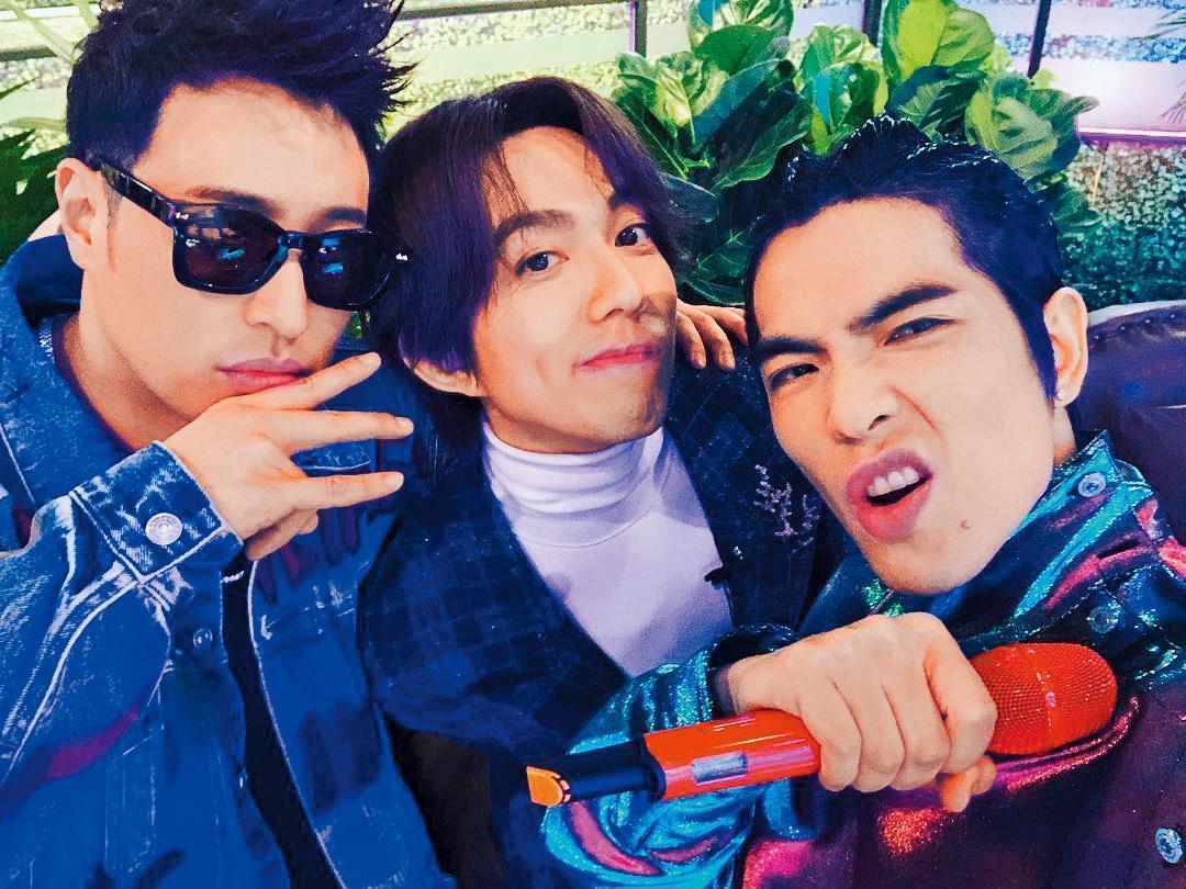 潘瑋柏(左起)與林宥嘉、蕭敬騰一起合作《聲林之王》。