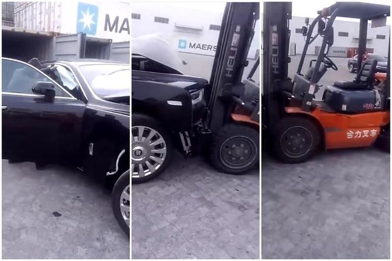 一台斯萊斯幻影汽車,貌似才剛落地離開貨櫃,就和推高機狠狠相撞。(合成圖,翻攝自天津保稅區-嘉裕隆然微博)
