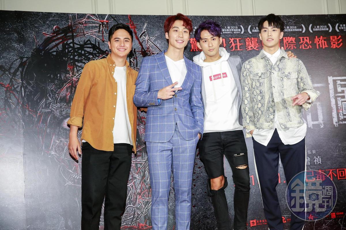 曾子余(左一)入行10年終於當上電影咖,他在片中遭到卞慶華(左二起)、于樂誠及徐謀俊的霸凌。