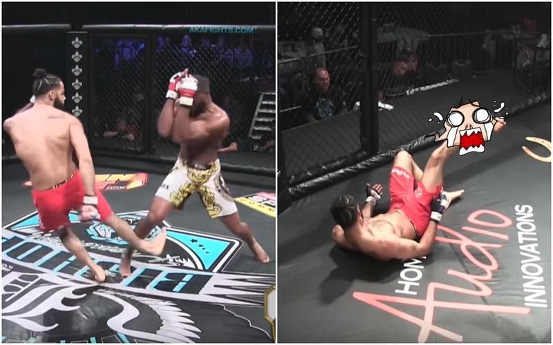 喬納森金右小腿直接折斷,由於重心不穩跌在地上,不到20秒時間就把自己「KO」。(翻攝自YouTube)