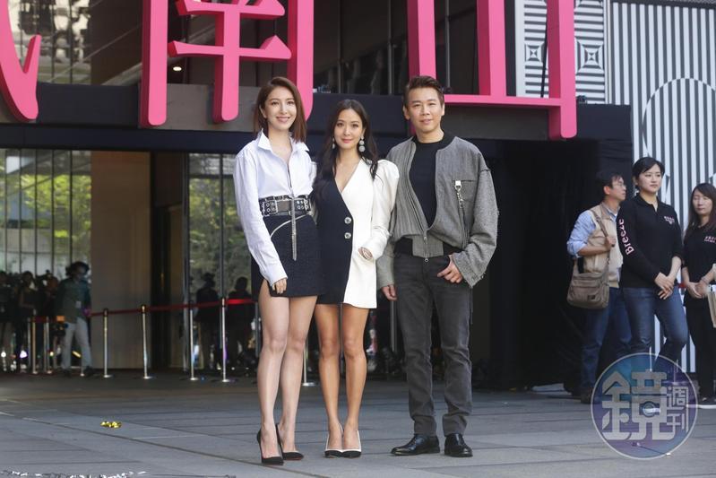 微風南山開幕,邀來楊謹華(左起),孫芸芸、陶喆站台剪綵。