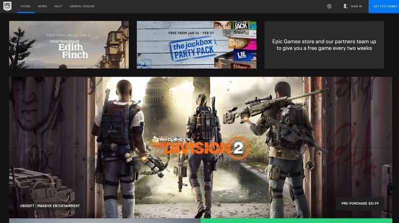 新的一年,線上遊戲商店競爭愈趨白熱化,圖為Epic Games Store。(翻攝自Epic Games Store)