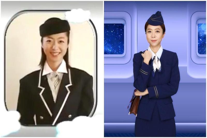 17年前(左圖)和現今(右圖)的陳綺貞空姐造型。(添翼提供)