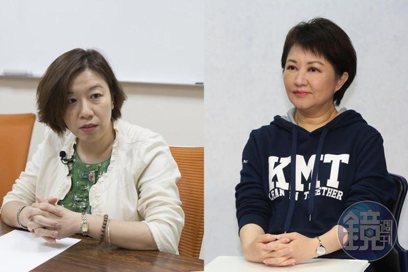 民進黨立委林靜儀(左)在臉書批評,盧秀燕(右)喊出「換市長後空氣就會換新」的口號被多數人所接受,直到最近才有人接受「境外汙染物」的事實。