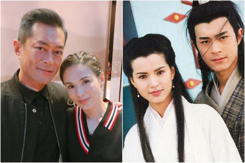 1995年由古天樂飾演的楊過和李若彤飾演的小龍女,睽違24年同框,勾起劇迷回憶。(翻攝新浪電影、李若彤微博)