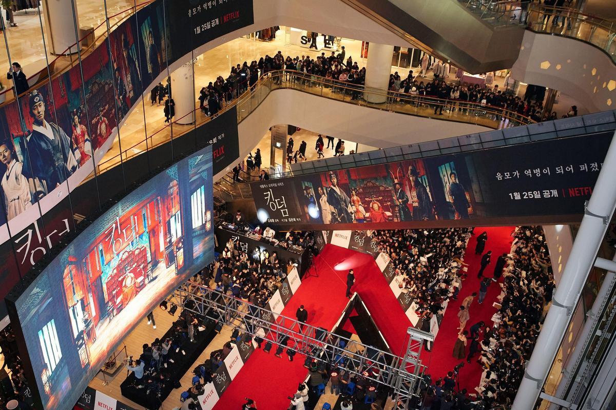 《李屍朝鮮》首映在首爾蠶室舉行,宣傳規模壯觀。(NETFLIX提供)