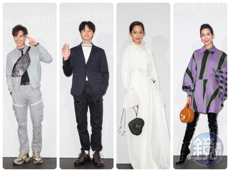 LV昨晚發表2019早春與春夏系列發表,包括(左起)謝佳見、張軒睿、簡嫚書、温貞菱都到場參觀。