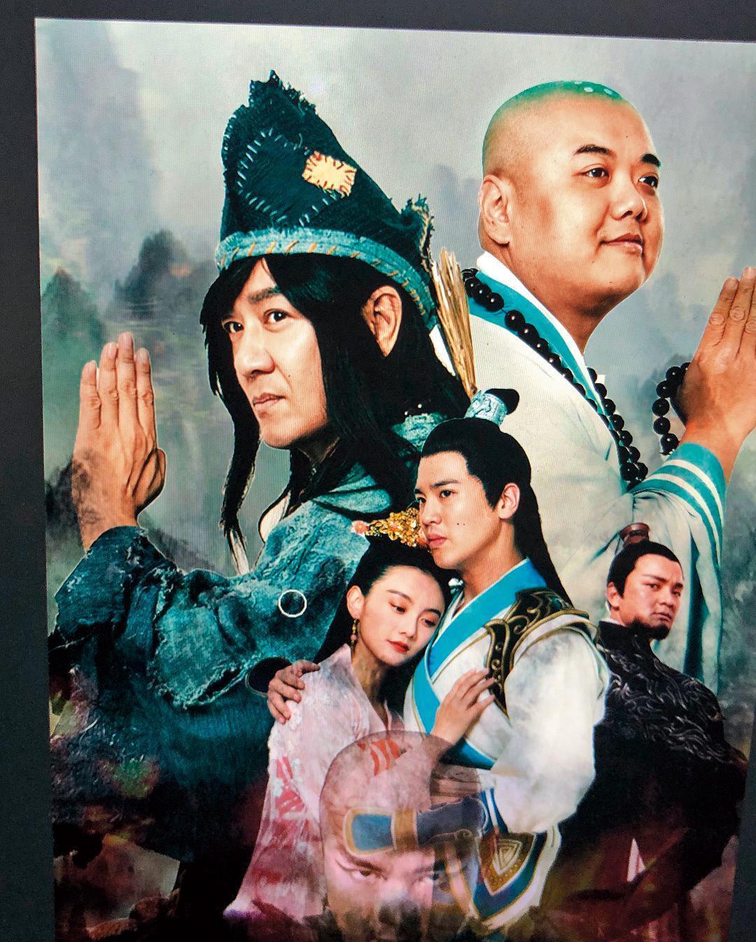 謝毅宏(下排中)連續拍了《濟公2之神龍再現》《濟公3之降龍有悔》電影 ,和林子聰(後排右)二度合作。(翻攝自謝毅宏臉書)