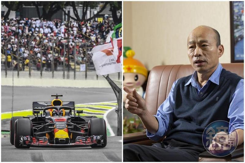 高雄市長韓國瑜(右)日前喊出想引進F1賽車,現在又落空了。(左圖東方IC)