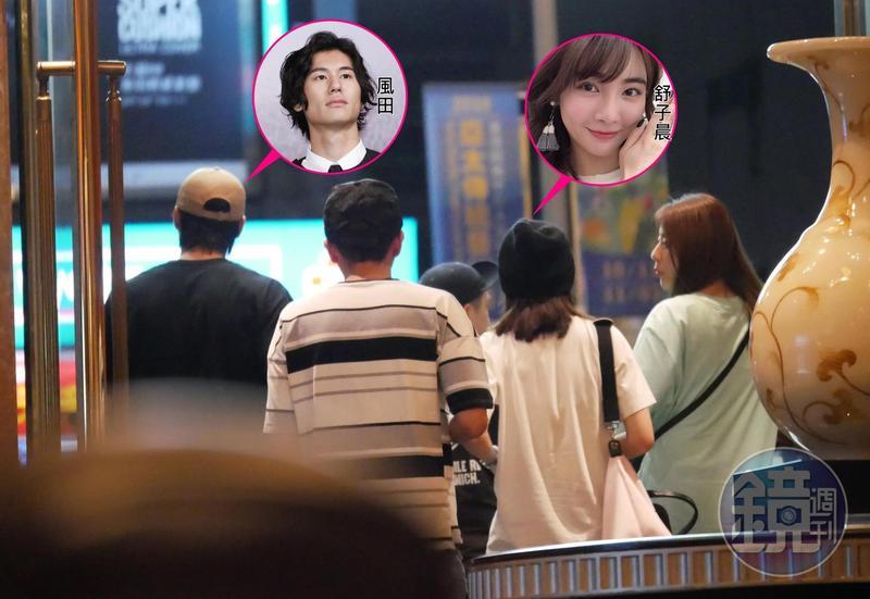 舒子晨(右)和風田(左)夜唱到凌晨3點,一起從台北SOGO錢櫃離開。
