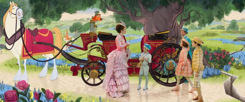 《愛.滿人間》延續動畫與真人演員互動的特效風格,以手繪動畫結合真人,成為電影最有話題的段落。(迪士尼提供)