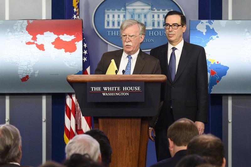 日前美國白宮舉行記者會,說明對委內瑞拉實施的經濟制裁。(東方IC)