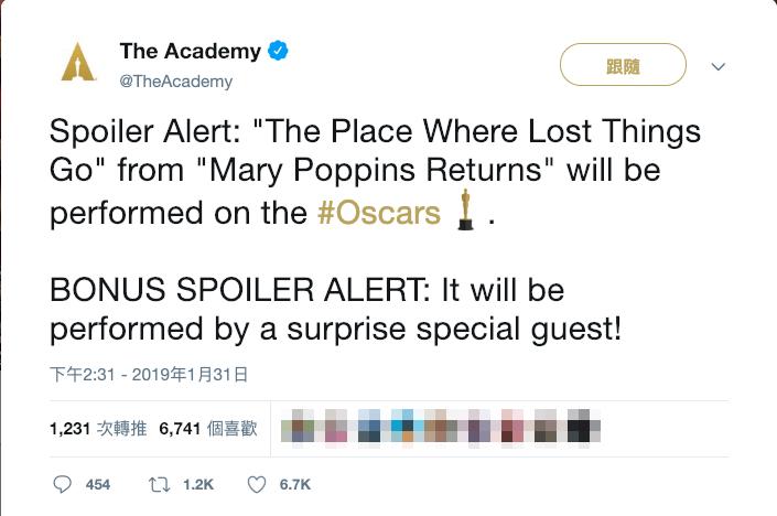 美國演藝學院在推特上表示,《愛‧滿人間》的〈The Place Where Lost Things Go〉會在典禮上演出,至於誰來唱,則是一個神祕的驚喜,擺明了就是要刺激收視率。(翻攝奧斯卡官方推特)