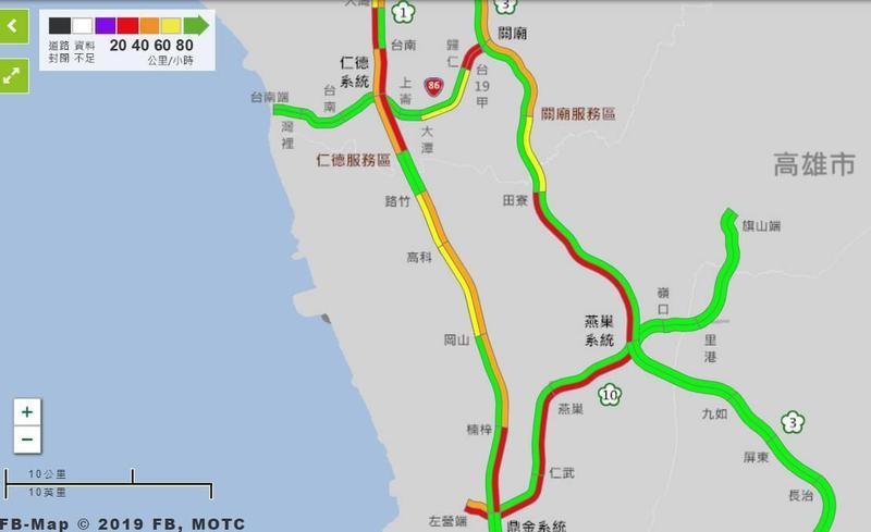 國道南部路段顯示紅色壅塞。(翻攝自高公局網站)