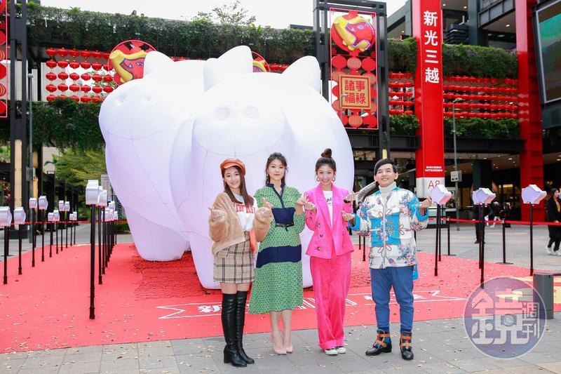 張文綺(左起)、曹雅雯及李千那現身點燈儀式力挺黃子佼。