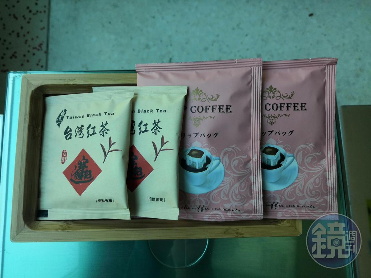 房內提供水沖咖啡及南投紅茶。