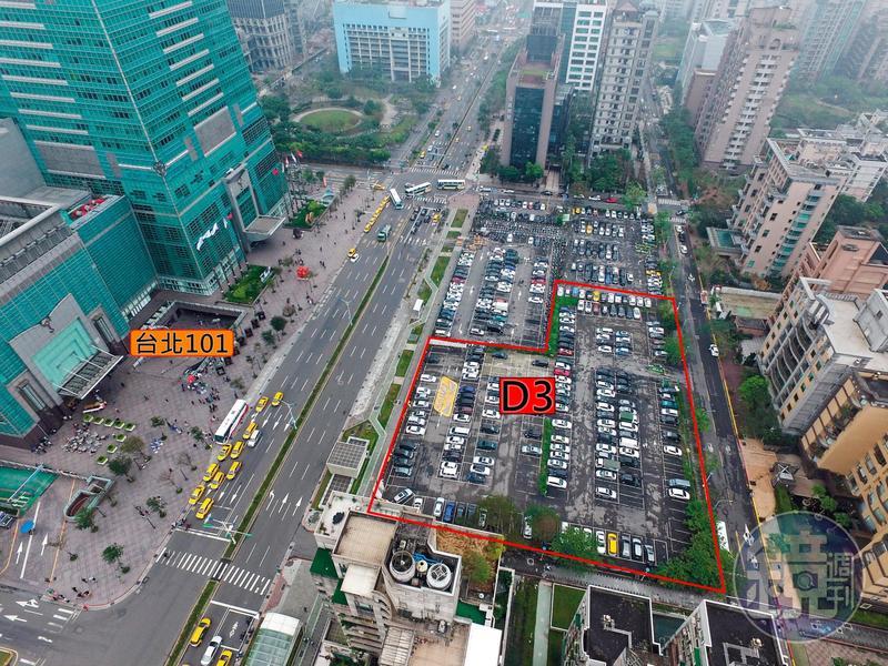 D3土地(紅框處)位在台北101大樓正對面,占地1,500坪,因幸福人壽掏空案淪為法拍地,市值超過百億元,開發利益龐大。