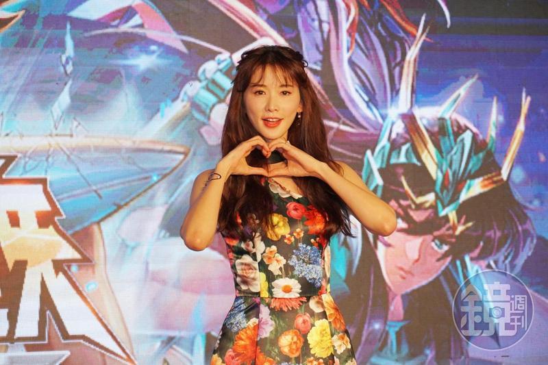 林志玲出席《聖鬥士星矢:覺醒》上線發布會;在廣告中,她扮演「雅典娜女神」。