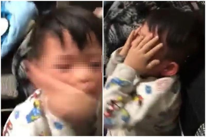 男童母親疑似孩子食物沒吃乾淨而施暴,男童遭連續掌摑,哭到恍惚失神。(翻攝畫面)