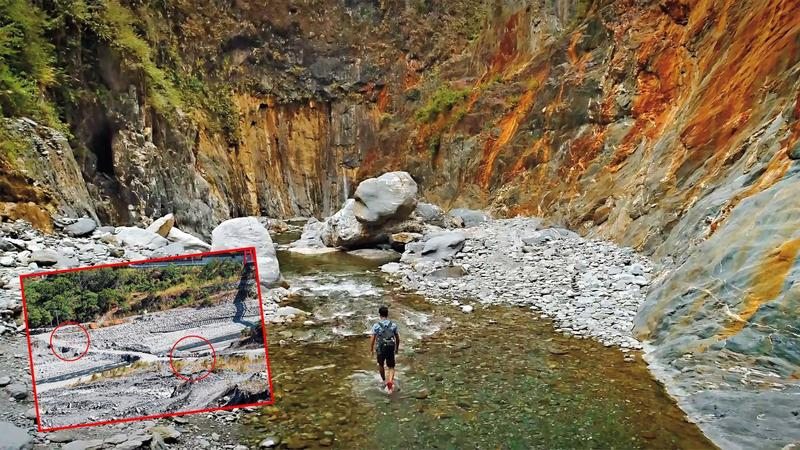 屏東霧台鄉深山中的哈尤溪溫泉以七彩岩壁聞名,絕景奪下網路力推的「全台第一野溪祕境」。(翻攝自屏東國際觀光影片)